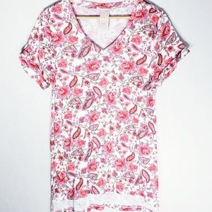 Philosophy Floral V neck Pima Cotton T Shirt